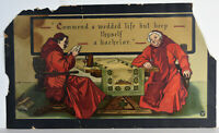 "16"" Antique 1904 Taber-Prang Print Commend a Wedded Life Monks Drinking Reading"