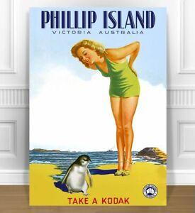 "VINTAGE PHILIP ISLAND PENGUIN TRAVEL POSTER CANVAS PRINT 24x18"" ART"