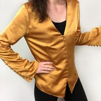 Joie Madora Gold Satin Button Down V-Neck Long Sleeve Blouse Top Women's Small