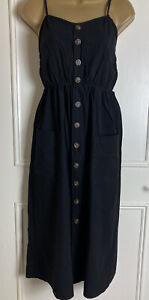 Cheap Woman's Black Sun Dress Size 8 Buttons Beach Holiday Pretty Cover Up