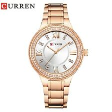 30m Waterproof Women's Luxury Rose Gold Round Face Diamond Dress Quartz Watches