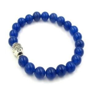 Fashion Blue Jade Bracelet 108 Buddha Beads gemstone Gift Chain Elegant Relief