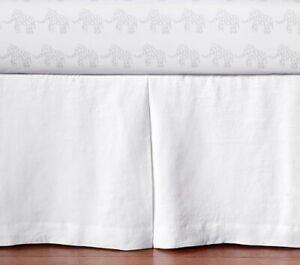 New Pottery Barn Kids White Belgian Flax Linen Mini Crib Bed Skirt Nursery