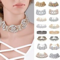 Fashion Crystal Choker Chunky Jewelry Statement Women Chain Pendant Bib Necklace
