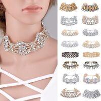 Fashion Crystal Choker Chunky Jewelry Statement Women Chain Pendant Bib Necklace