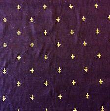 NL062 Fleur de Lis French Paris Royal Purple Cotton Embroidered Home Dec Fabric