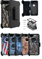 For iPhone 7 / 8 / Plus / Camo Defender Case With Clip (Belt Clip Fits Otterbox)