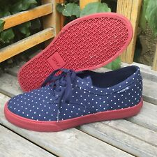 HUF Blue/White Polka-Dot Lace Up Flats Sneakers - Size 5 (US)