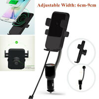 QI Wireless Dual USB Car Smart Phone Charger Holder Mount With Cigarette Lighter