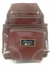 Leather Gold CLASSIC ,Ten Pocket Brown Tanned, Tool Pouch, With 2 Hammer Holders