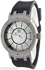 Super Techno M-6171 12D Women's Silver Dial  Black Rubber Band Watch