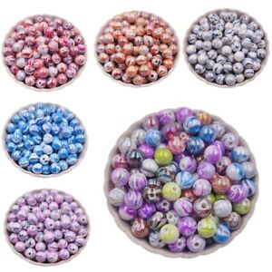 50Pcs Stripe AB Acrylic Loose Beads For Jewelry Making  Accessories DIY Lot