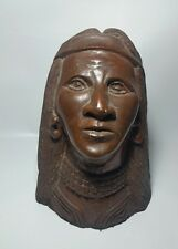 """NATIVE AMERICAN CARVED INDIAN HEAD SCULPTURE - DETAILED LARGE 10"""""""
