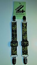 STIRRUPS 4 BIKERS .. MOTORCYCLE RIDER PANT CLIPS BUNGEE CLAMPS.... DIGITAL CAMO