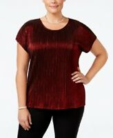 NY Collection Womens Plus Cap Sleeve Top Metallic Red Ribbed Shirt Size 2X