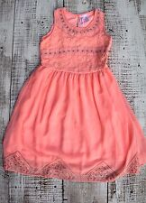 Japna Kids Girls Sz 10 NEW Coral Pink Stitched Sleeveless Tank Top Dress