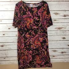 Lularoe Women's Size XL Julia Short Sleeve Scoop Neck Shift Black Floral Dress