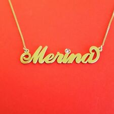 14K-Solid-Gold-Name-Necklace-Name-Necklace-Gold-Personalized-Neckless 14 carat