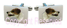Parson Russell Terrier Dog Natural Mother Of Pearl Cufflinks + Gift Box Scs45