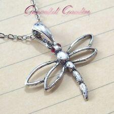 Tone Crystal Dragonfly Pendant Necklace Nl0362 Graceful Garden Antique Silver