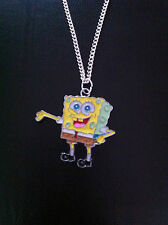 """BRAND NEW SPONGEBOB SQUAREPANTS CHARM NECKLACE 18"""" SILVER CHAIN IN GIFT BAG"""