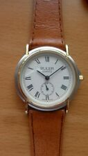 BULER NEW SWISS MADE WATCH - MATT GOLD & SILVER PLATED CASE - LEATHER BAND