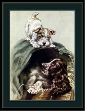 English Print English Springer Spaniel & Wire Fox Terrier Dog Art Picture