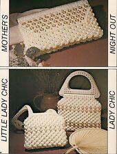 Vintage Macrame Evening Purse Patterns #1918 Macra-Mates