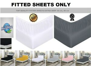 Extra deep Fitted Sheets Single, Double, King Bed Sheet Covers 30cm, 40cm Sizes
