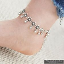 Fashion Ankle Bracelet Flower Women Silver Anklet Foot Jewelry Beach Adjustable