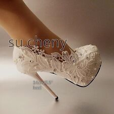 "4.5 / 5"" High heel white light ivory pearl lace platform wedding shoes size 5-10"