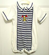 Vtg Babycrest Dressy Sailor Nautical Knit One-Piece Romper 24 month White Blue