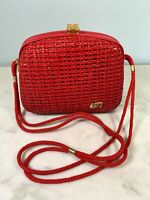 Vintage Pier Giorgio Italy Red woven wicker straw frame purse 1970s long strap