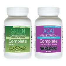 PURE GREEN COFFEE BEAN EXTRACT CHLOROGENIC+ ACAI BERRY CLEANSE WEIGHT LOSS DIET
