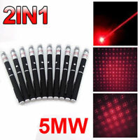 10PC 5MW 650nm 10Miles 2in1 Military Red Laser Pointer Pen Visible Beam Light US