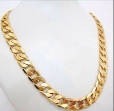 """MEN'S HEAVY 9ct """"GOLD FILLED"""" Men CURB Links CHAIN NECKLACE.L=24"""" ,W= 12.5mm"""