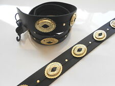 UK MADE EXTRA LONG BRASS STYLE CONCHE REAL LEATHER ADJUSTABLE BLACK GUITAR STRAP