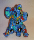 ELEPHANT GLAZED CERAMIC  BANK * BLUE WITH ANIMAL PICTURES * 7.5 INCH TALL *