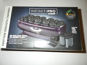INFINITIPRO BY CONAIR Instant Heat Ceramic Flocked Rollers, 20 count OPEN BOX!