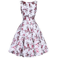 Hearts and Roses London Pink Shimmer Rose Floral 1950s Retro Vintage Tea Dress