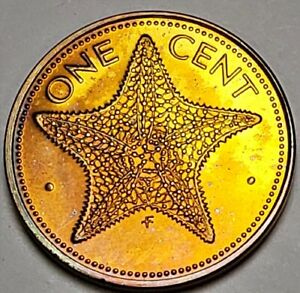 1974 BAHAMAS ONE CENT BU UNC BEAUTIFUL COLOR TONED COIN