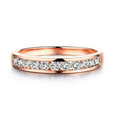 Round Cut 0.44ct Moissanite Fine Jewelry Solid 10K Rose Gold Simple Bands Ring