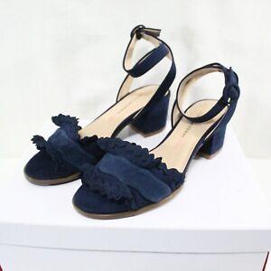 ISAAC MIZRAHI women ankle buckle mid heel navy suede dress sandal size 5.5 M NEW