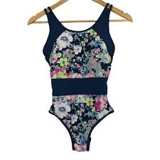New listing Moontide One Piece Floral Print Bathing Suit Blue Trim Size US 6 Swimsuit