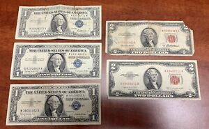 Circulated 1957 A B $1 Silver Certificates + 1953 A B $2 U.S. Bank Notes