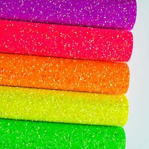Iridescent Frosted Neon Chunky Glitter Fabric - High Quality For Crafts & Bows