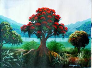 """ORIGINAL HAITIAN FOLK ART PAINTING BY GEORGES WINSCOL""""FLAMBOYANT"""" 12""""16"""" HAITI"""