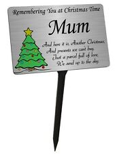 Christmas Tree Memorial Plaque & Stake for Mum. Brushed Silver garden grave