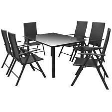 Outdoor Dining Set 7 Pieces Aluminium and Poly Rattan
