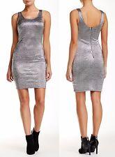 SOPRANO Bodycon Scoop Dress Color: 001 SILVER, Size: M, MSRP $56.00